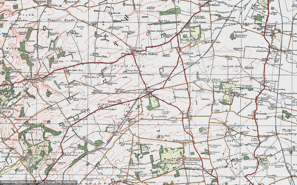 Old Map of Historic Map covering East Riding of Yorkshire in 1924