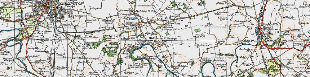 Old map of Middleton One Row in 1925