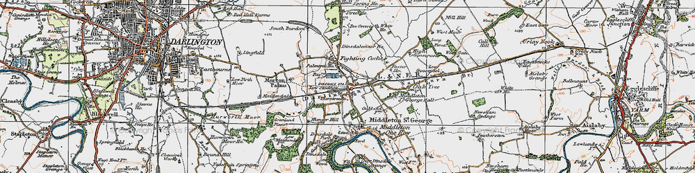 Old map of Middleton St George in 1925