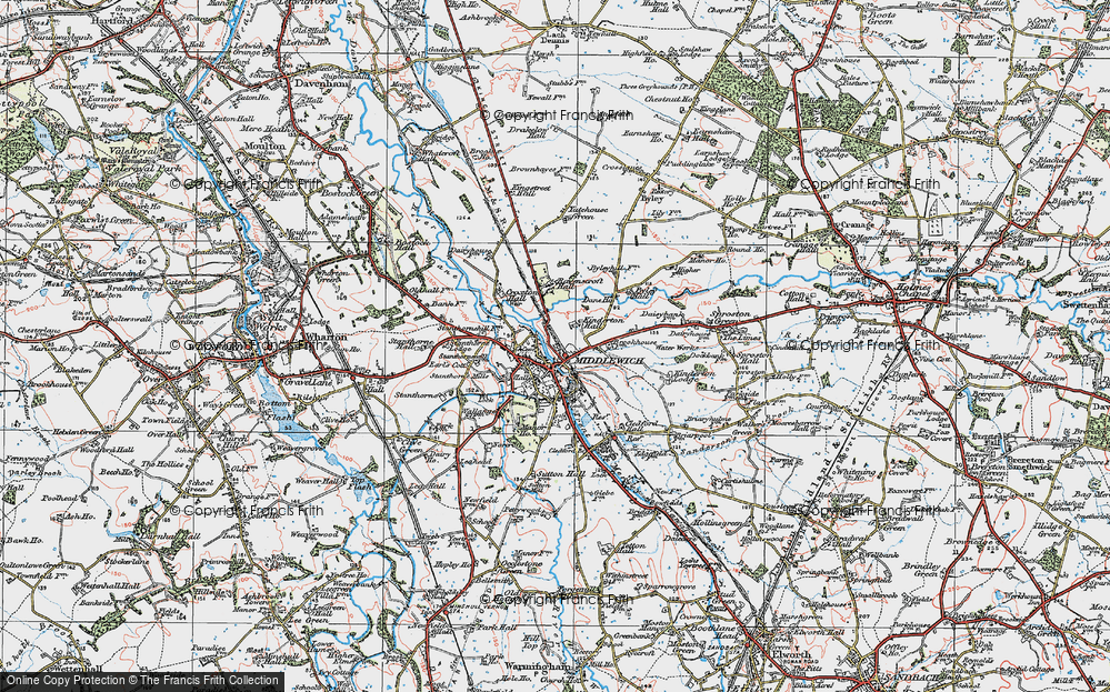Old Map of Middlewich, 1923 in 1923