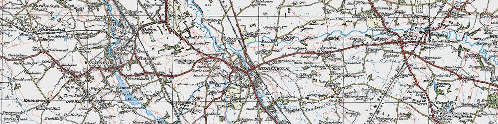 Old map of Middlewich in 1923