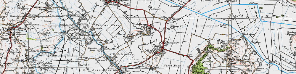 Old map of Middlezoy in 1919