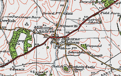 Old map of Milborne St Andrew in 1919