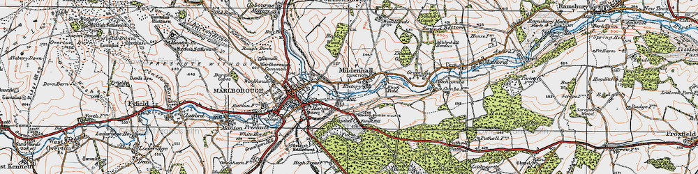 Old map of Mildenhall in 1919