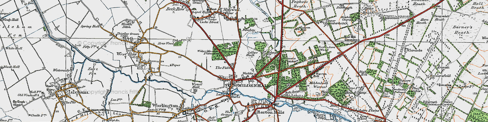 Old map of Mildenhall in 1920