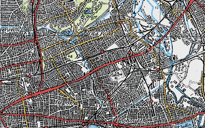 Old map of Mile End in 1920