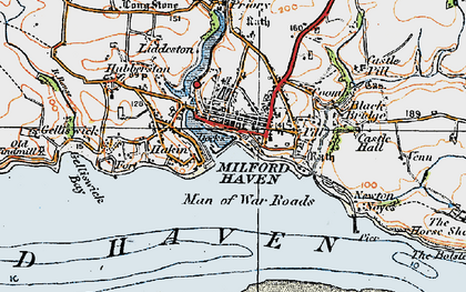 Old map of Milford Haven in 1922