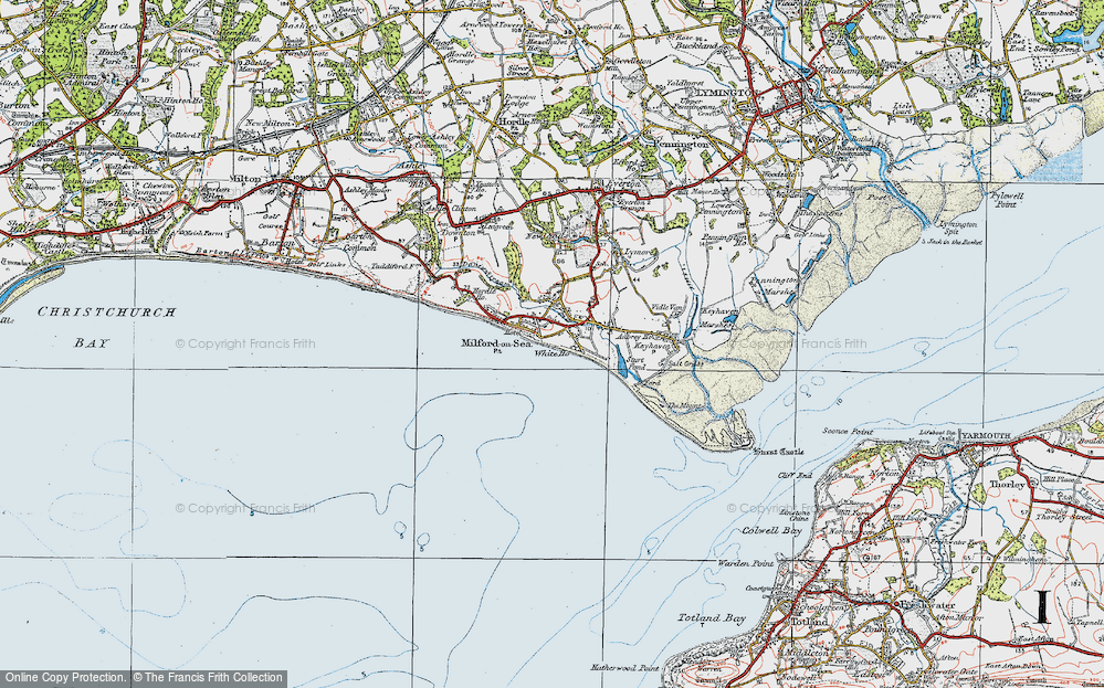 Old Map of Milford on Sea, 1919 in 1919
