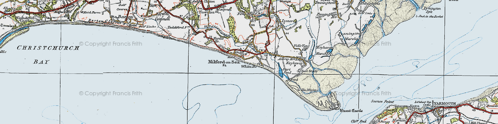 Old map of Milford on Sea in 1919