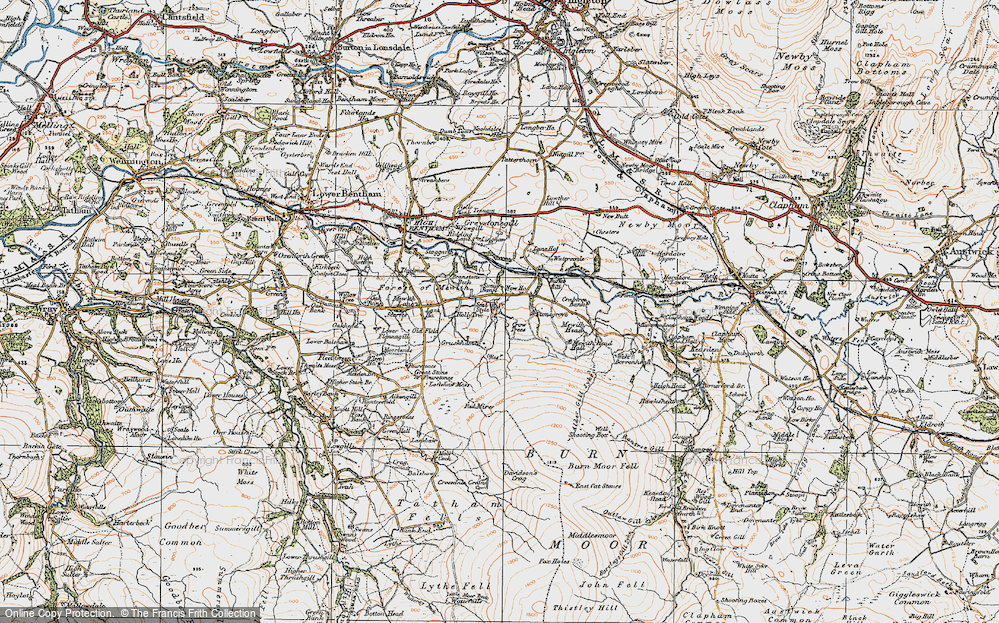 Old Map of Historic Map covering Lanshaw in 1924
