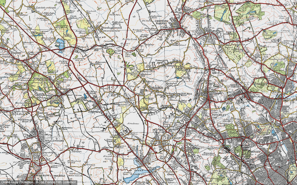 Old Map of Mill Hill, 1920 in 1920