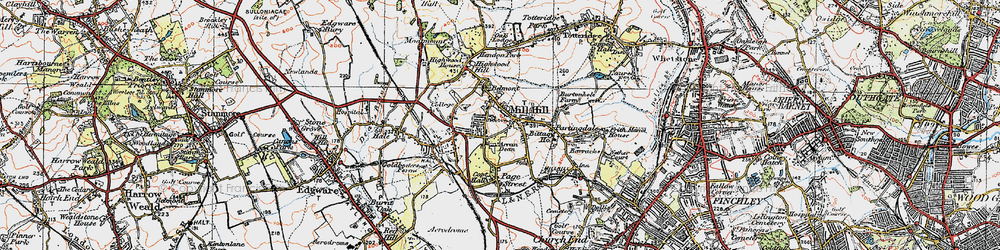 Old map of Mill Hill in 1920