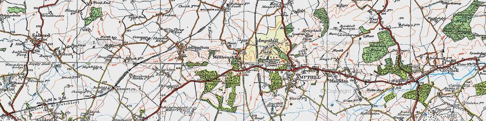 Old map of Ampthill Park Ho in 1919