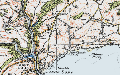 Old map of Millendreath in 1919