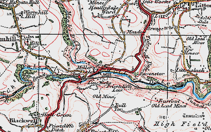Old map of Miller's Dale in 1923