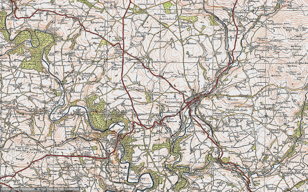 Old Map of Historic Map covering Woodovis Ho in 1919