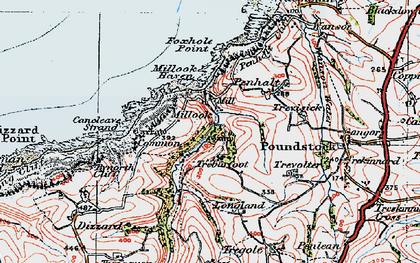 Old map of Millook in 1919