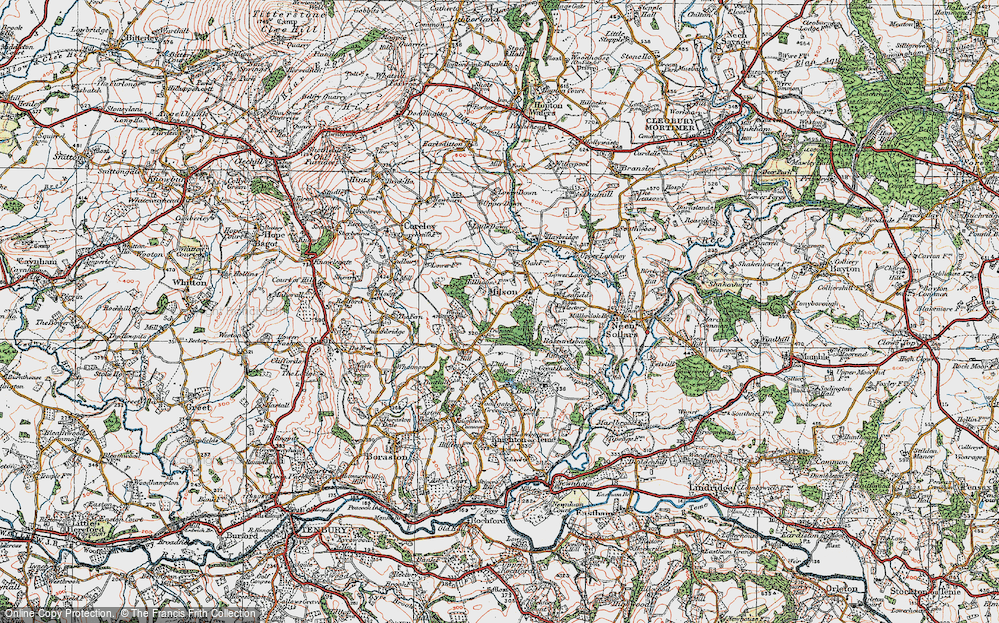 Old Map of Historic Map covering Lea Fields in 1920