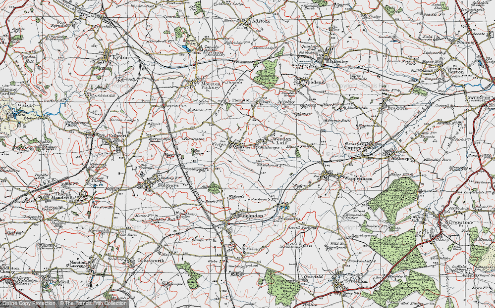Old Map of Historic Map covering Astwell Ho in 1919