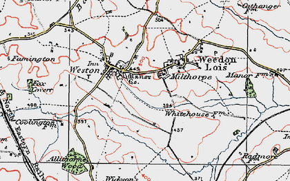 Old map of Astwell Ho in 1919