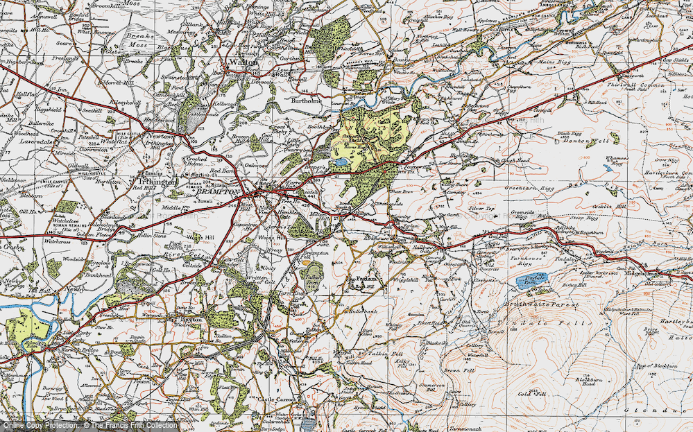 Old Map of Historic Map covering Wreay in 1925