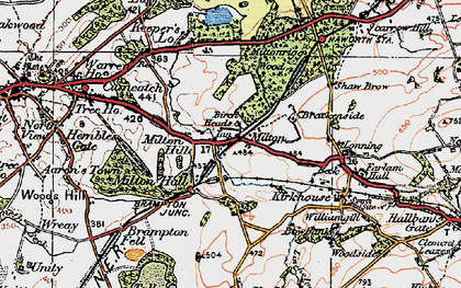 Old map of Wreay in 1925