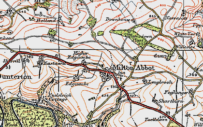 Old map of Milton Abbot in 1919
