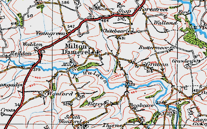 Old map of Milton Damerel in 1919
