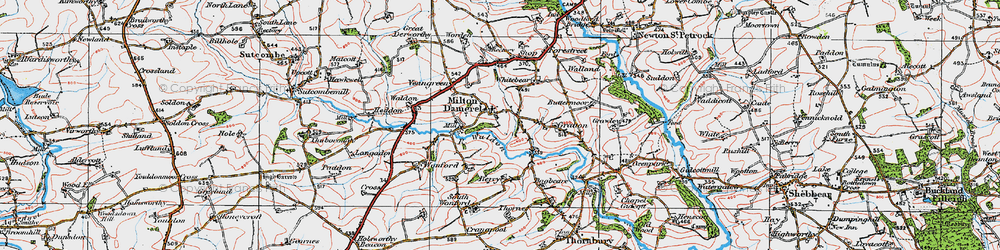 Old map of Wonford in 1919