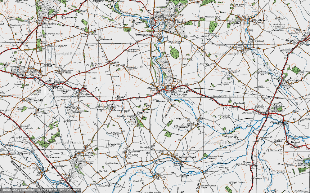 Old Map of Historic Map covering Toms Copse in 1919