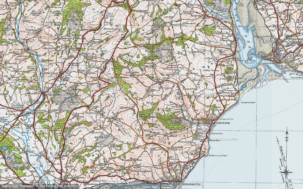 Old Map of Historic Map covering Ashcombe Tower in 1919