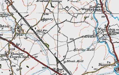 Old map of Milton Keynes in 1919