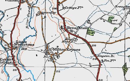 Old map of Milton Keynes Village in 1919