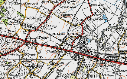 Old map of Milton Regis in 1921