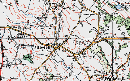 Old map of Wheatlow Brook in 1921