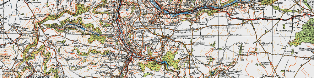Old map of Minchinhampton in 1919