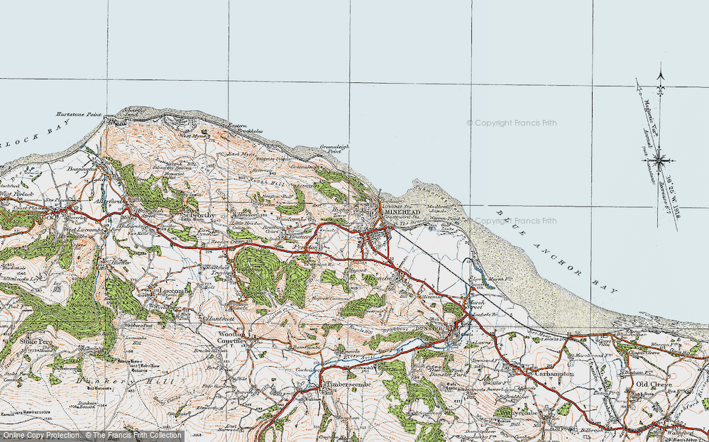 Old Map of Minehead, 1919 in 1919