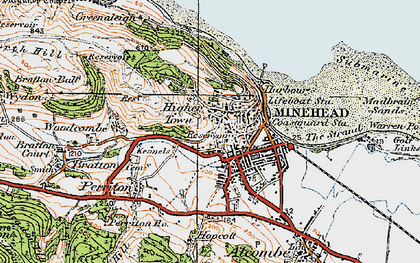 Old map of Minehead in 1919