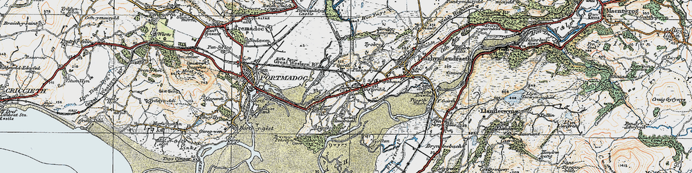 Old map of Ynys Gifftan in 1922