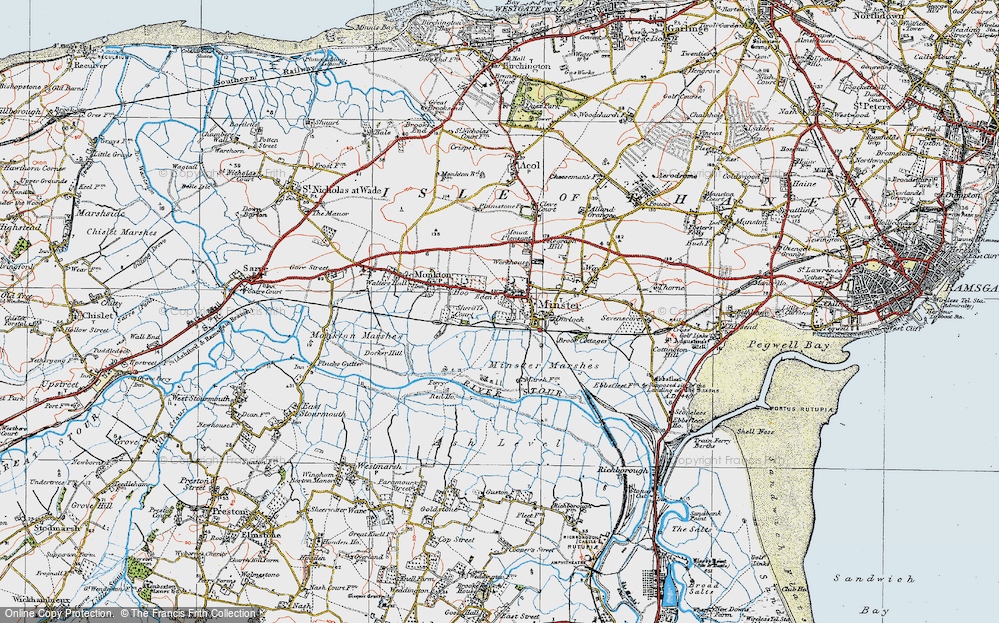 Old Map of Historic Map covering Abbot's Wall in 1920