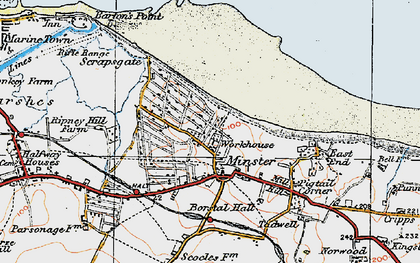 Old map of Minster in 1921