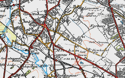 Old map of Mitcham in 1920
