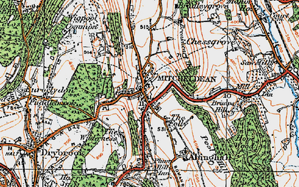 Old map of Mitcheldean in 1919