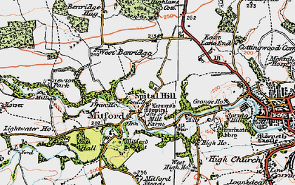 Old map of Mitford in 1925