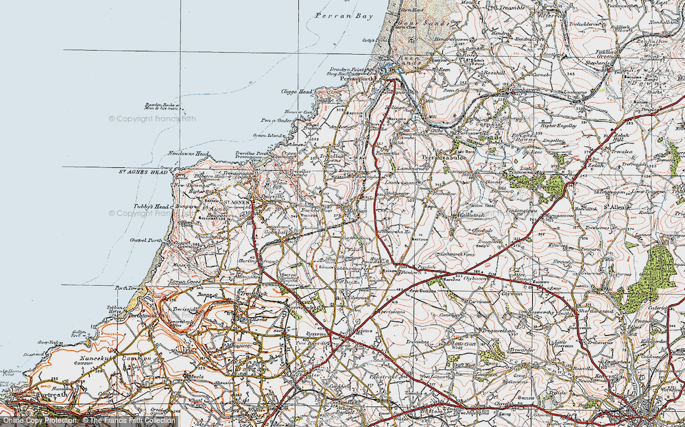 Old Map of Mithian, 1919 in 1919