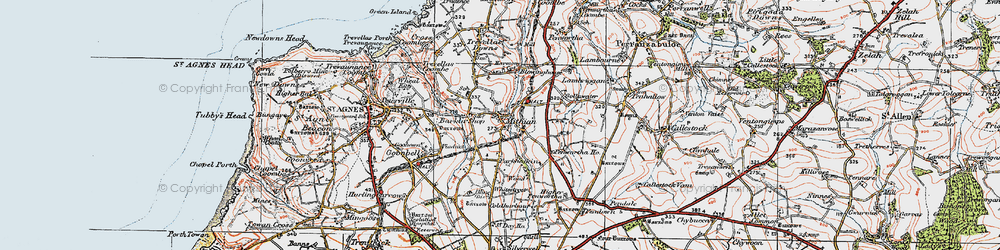 Old map of Mithian in 1919