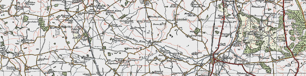 Old map of Mitton in 1921