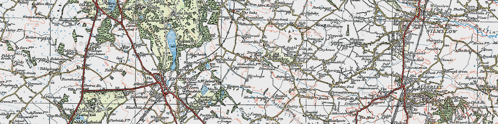 Old map of Mobberley in 1923