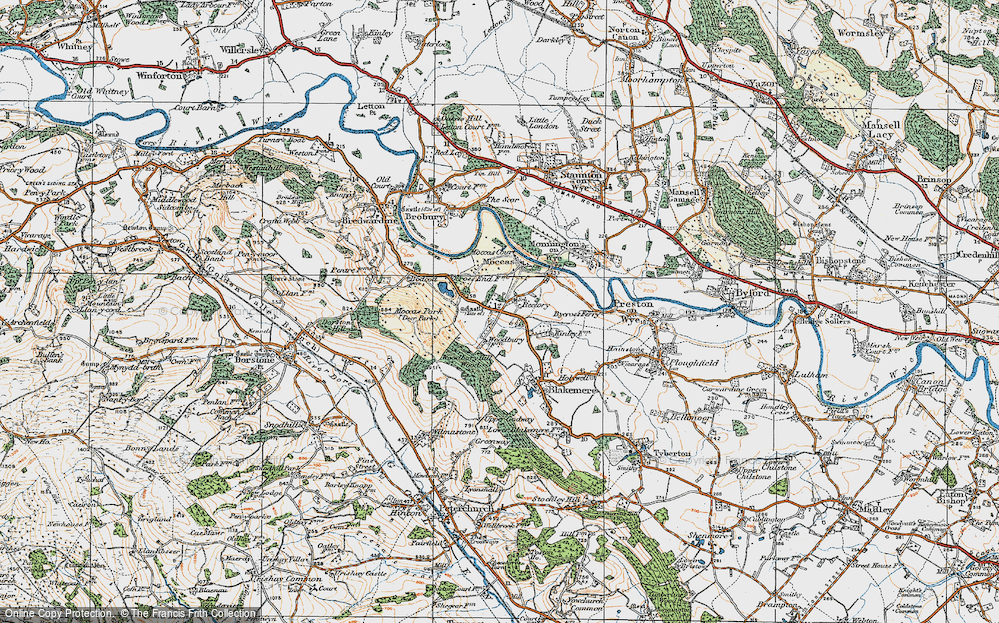 Old Map of Historic Map covering Woodbury Hill Wood in 1920