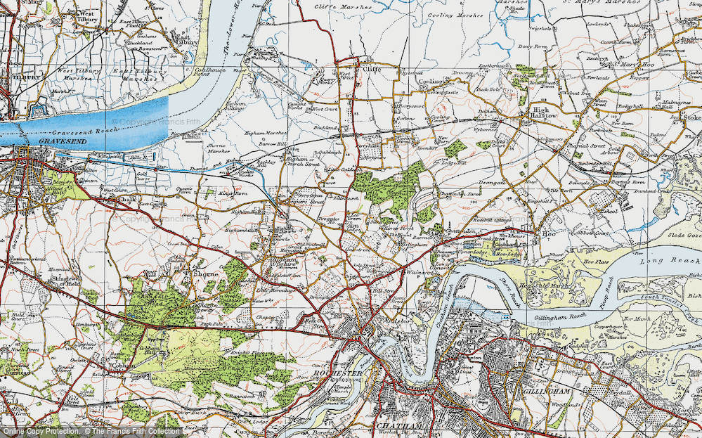 Old Map of Historic Map covering Lee Green in 1921